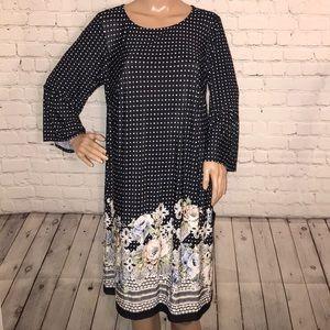 Avenue long sleeve polka dot dress NWT 14/16 black